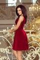 208-3 Dress with lace neckline and pleats - Burgundy color