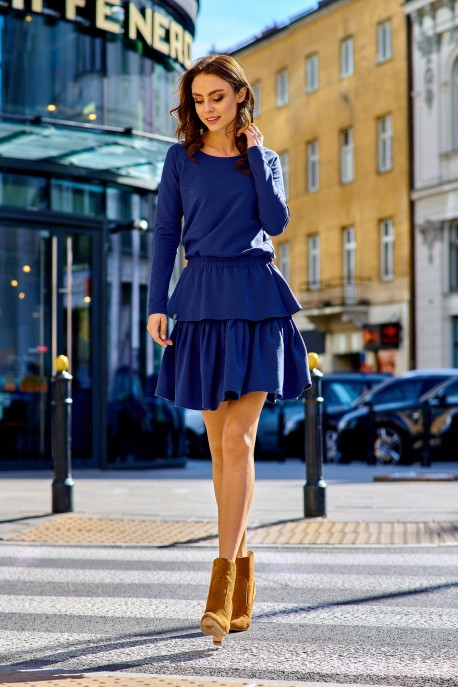 Casual dress with a double frill L283 navy