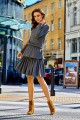 Casual dress with a double frill L283 dark grey