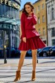 Casual dress with a double frill L283 crimson