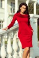 131-9 Warm dress with pockets and turtleneck - red