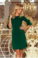 Puošni žalia suknelė trumpomis rankovėmis