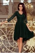 Tamsiai žalia suknelė prailginta nugara