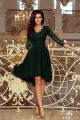 210-3 NICOLLE - dress with longer back with lace neckline - dark green