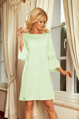190-9 MARGARET dress with lace on the sleeves - pistachio