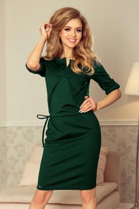 161-12 AGATA - dress with a collar - green