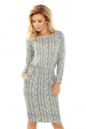 172-1 Dress with wrinkles - black white sweater