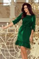 193-8 MAYA Dress with flounces and belt - green color