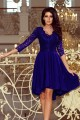210-4 NICOLLE - dress with longer back with lace neckline - ROYAL BLUE