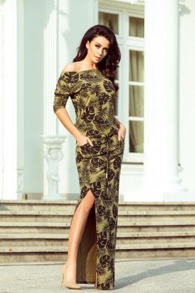 220-2 MAXI sporty dress - round leaves + khaki