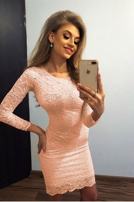 145-5 Dress with lace - peach