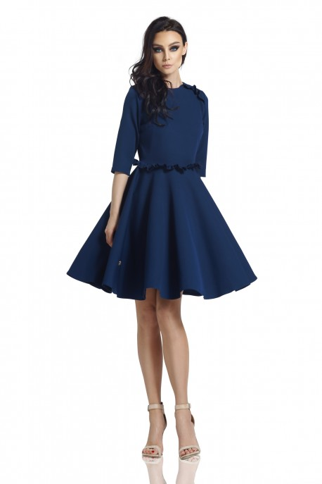 Dress with the frill L291 navy