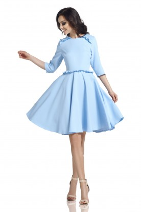 Dress with the frill L291 light blue