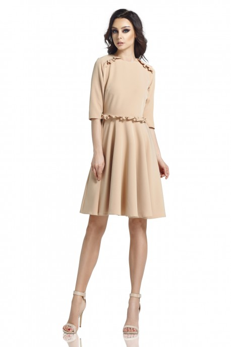 Dress with the frill L291 warm beige