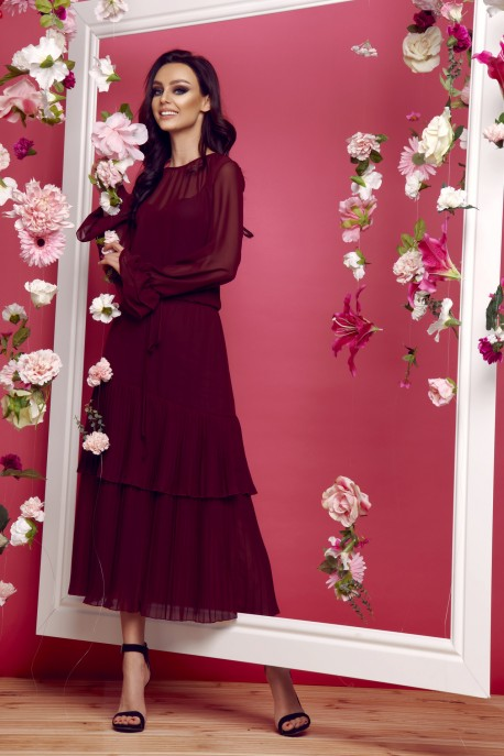 Midi dress in boho style L294 burgundy