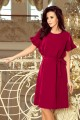 229-2 ROSE dress with ruffles on the sleeves - burgundy color