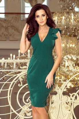227-1 MEGAN A dress with a neckline - green color