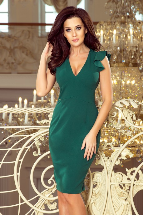 227-1 MEGAN A dress with a neckline - green color