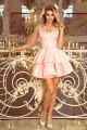 207-3 ALEXIS - Exclusive dress with lace neckline - pastel pink