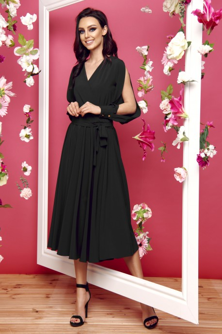 Dress with slit longsleeves L295 black