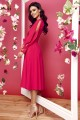 Dress with slit longsleeves L295 raspberry