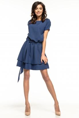 Tamsiai mėlyna stilinga suknelė