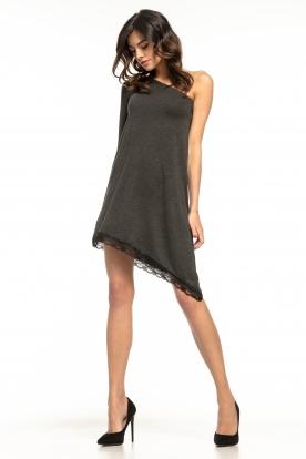Asimetriška tamsiai pilka suknelė