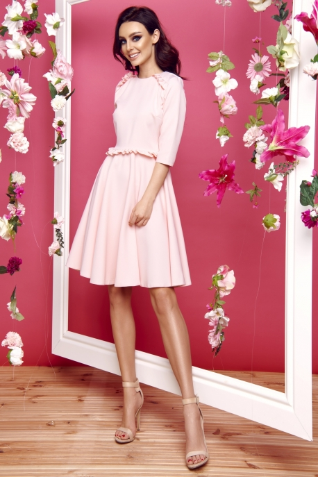 Dress with the frill L291 powder pink