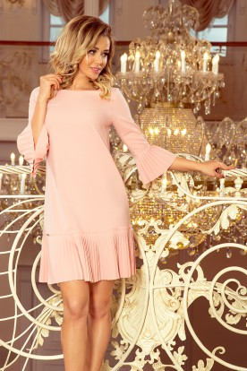 228-1 LUCY - pleated comfortable dress - peach