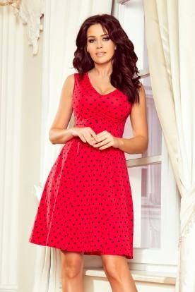 238-1 BETTY flared dress - red + polka dots