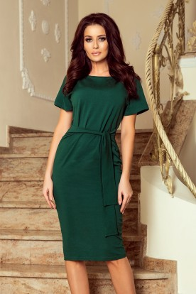 248-1 VERA Midi dress with short sleeves - dark green