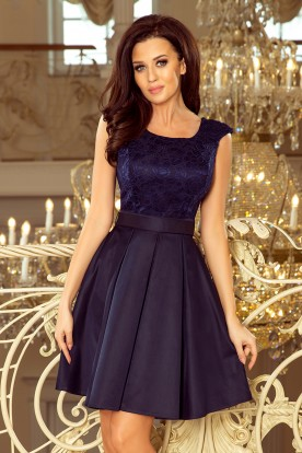 244-2 FLORA dress with round neckline and lace - navy blue