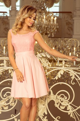 244-1 FLORA dress with round neckline and lace - pastel pink