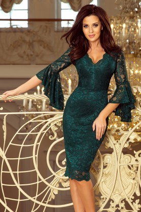 234-2 Lace dress with flared sleeves - green