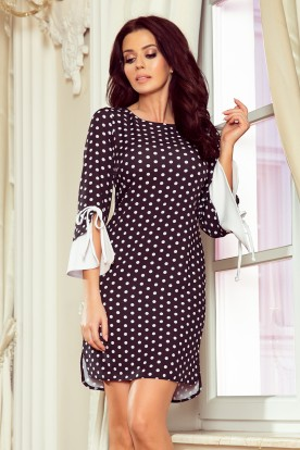 232-1 GRACE dress with white sleeves - black in white polka dots