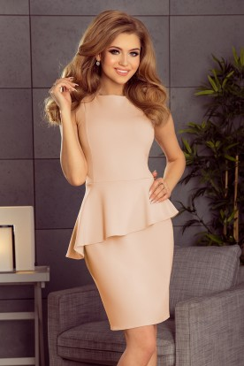 178-5 Asymmetrical dress with frill - peach