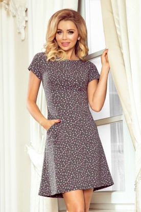 252-1 LILY Dress with short sleeves - graphite + small pink butterflies