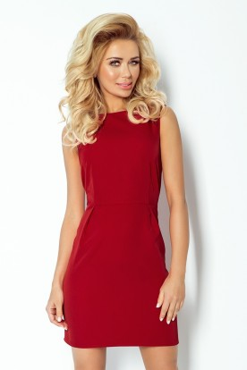 A classic dress with pleats at the waist - bordo 103-4