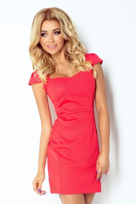 Dress with sleeves - coral 118-7