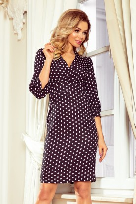 243-1 Dress with puffed sleeves - black with polka dots