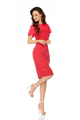 Elegant dress with chiffon sleeves and neckline L299 raspberry