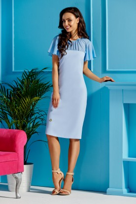 Elegant dress with chiffon sleeves and neckline L299 light blue