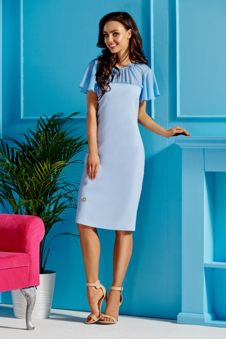 Elegant dress with chiffon sleeves and neckline L299 light blue