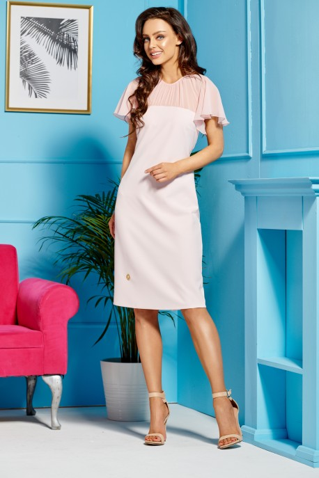 Elegant dress with chiffon sleeves and neckline L299 powder pink