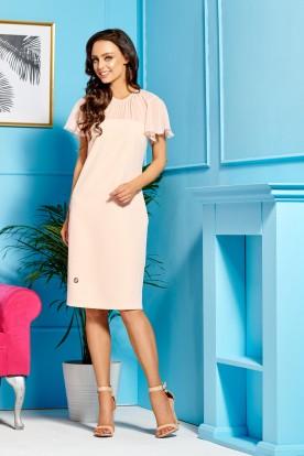 Elegant dress with chiffon sleeves and neckline L299 salmon