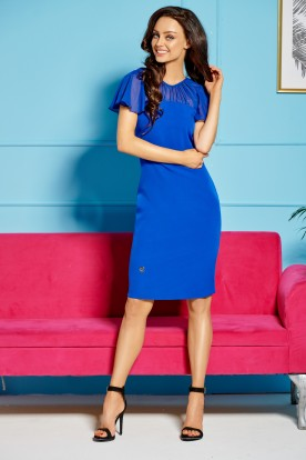 Elegant dress with chiffon sleeves and neckline L299 blue