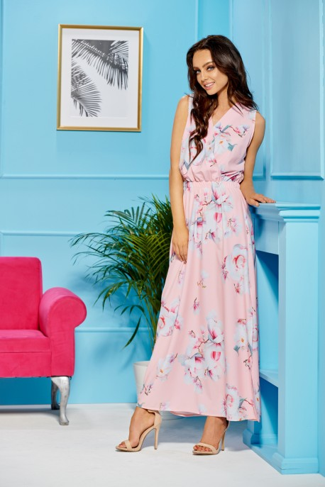 Maxi dress with an envelope neckline L304 powder pink