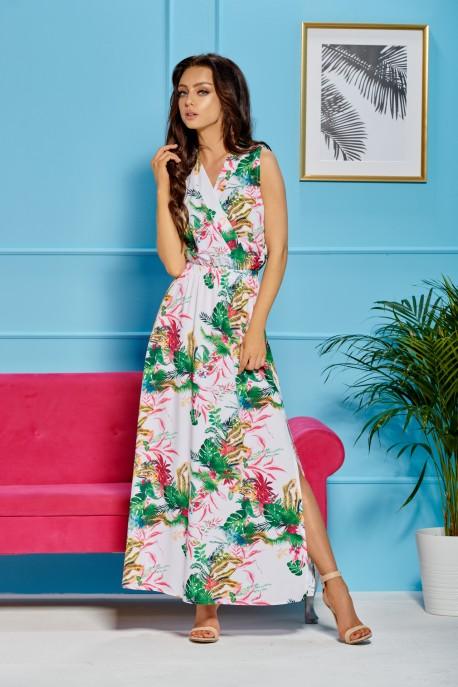 Maxi dress with an envelope neckline L304 white