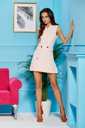Jacket dress without sleeves L305 powder pink
