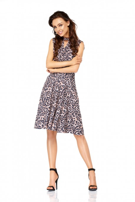 Sleeveless dress for the knee length L306 panther